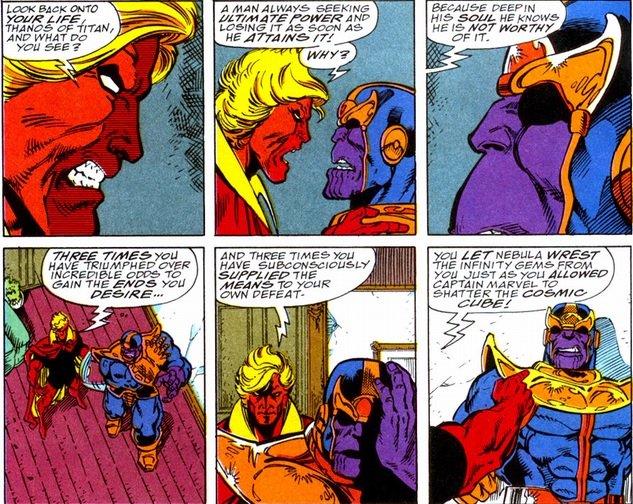 Adam Warlock y Thanos en el Guantelete del Infinito